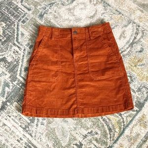Burnt Orange Corduroy Mini Skirt